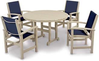 Polywood Coastal 5-Pc Round Dining Set - Navy/Sand