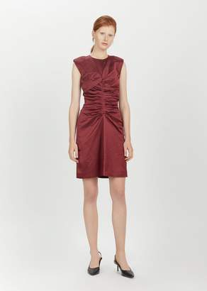 Isabel Marant Esta Ruched Dress Burgundy