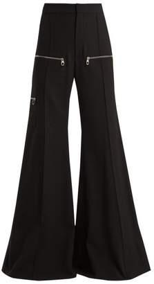 Chloé Wide Leg Virgin Wool Blend Trousers - Womens - Black