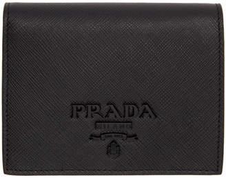 Prada Black Saffiano Logo Wallet