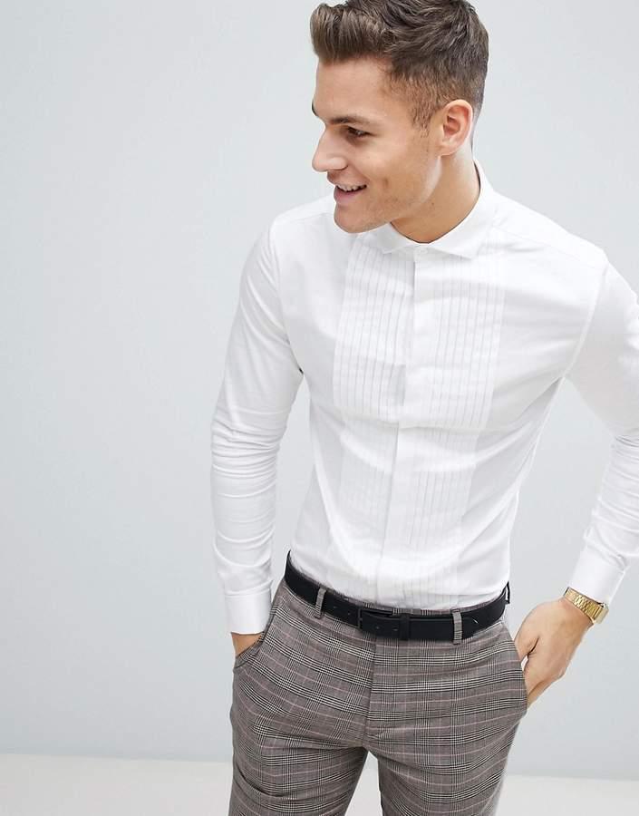 Wedding – Enges, weißes Satinhemd mit Faltendesign und doppelten Manschetten