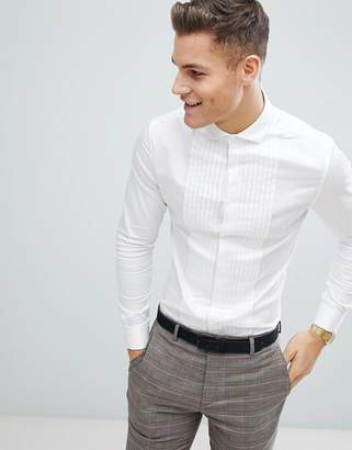 Asos Design DESIGN wedding skinny fit sateen shirt with pleat detail in white with double cuff