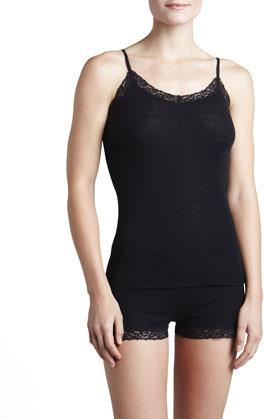 Hanro Woolen Lace-Trim Camisole, Black