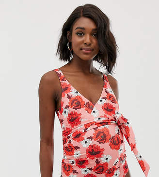 Asos DESIGN Maternity recycled wrap round swimsuit in red floral print