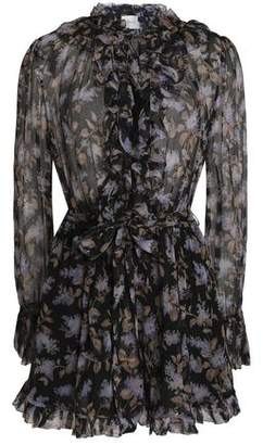 Zimmermann Belted Floral-Print Crinkled Silk-Chiffon Playsuit