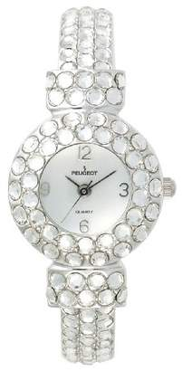 Peugeot Women's Silver Hand Set Clear Crystal Glitz Mother of Pearl Cuff Bangle Bracelet Jewelry Watch 326CL