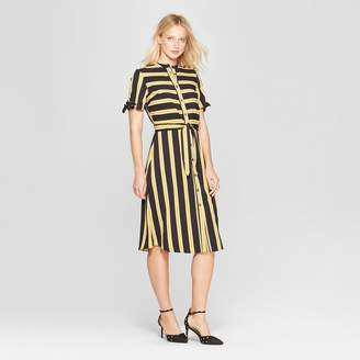 Who What Wear Women's Short Sleeve Knotted Midi Shirtdress