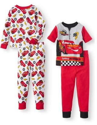 Cars Short Sleeve & Long Sleeve Cotton Tight Fit Pajamas, 4-piece Set (Toddler Boys)