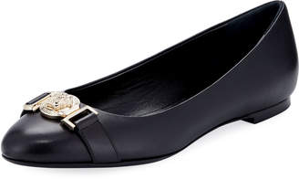 Versace Leather Ballet Flats with Lion Head