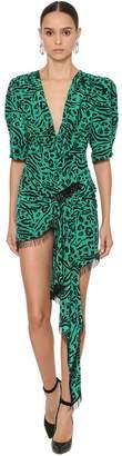 DANIELE CARLOTTA Animal Print Silk Crepe Wrap Dress