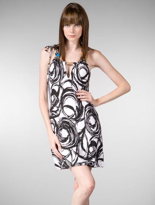 Trina Turk Brushstroke Swirl Cover Up Dress in Black