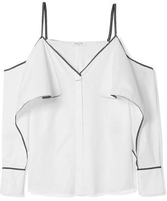Thierry Mugler Cold-shoulder Grosgrain-trimmed Cotton-poplin Top - White