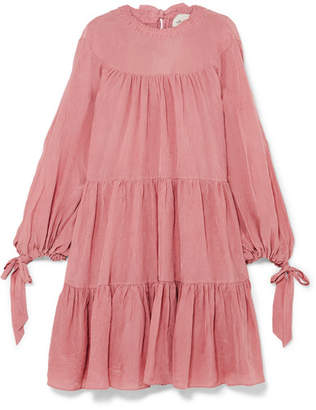 3.1 Phillip Lim Oversized Tiered Crinkled Matte-satin Mini Dress - Antique rose