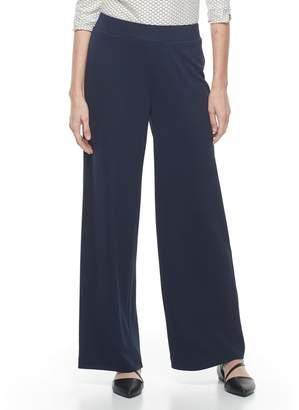 Dana Buchman Women's Travel Anywhere Jacquard Wide-Leg Pants