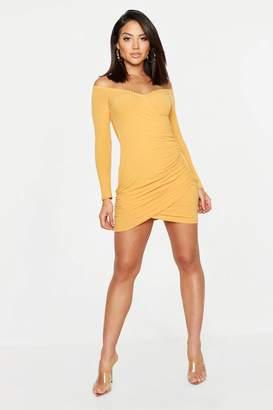 boohoo Soft Knit Off The Shoulder Wrap Dress
