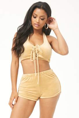 Forever 21 Velour Lace-Up Cropped Halter Top