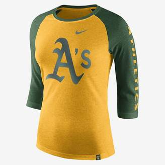 Nike Tri-Blend Raglan (MLB A's) Women's 3/4 Sleeve Top