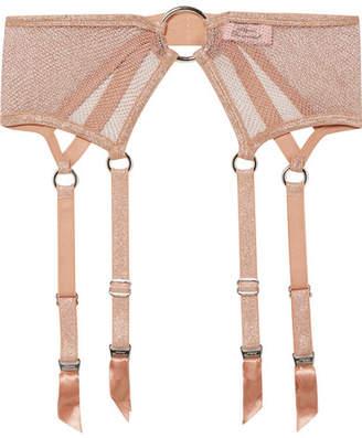 Agent Provocateur Phoebe Metallic Stretch-mesh Suspender Belt - Antique rose