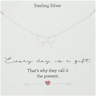 Sterling Silver Station with Bow Motif Necklace