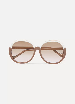 Zimmermann Joliette Round-frame Two-tone Acetate Sunglasses - Beige