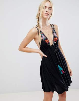 Free People Lovers Cove Embroidered Tassle Dress