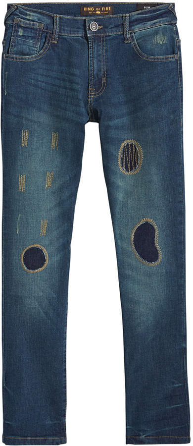 Ring of Fire Elan Patch Slim-Fit Jeans, Big Boys, Created for Macy's