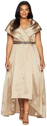 Adrianna Papell Plus Size Silky Taffeta High-Low Shawl Gown Women's Dress