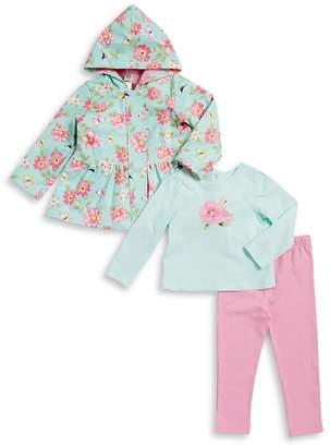 Little Me Baby's Floral Rain Jacket, Floral-Print Cotton Tee and Elasticized Leggings Set