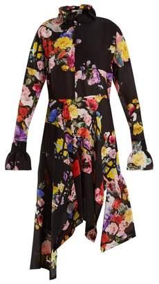 Preen By Thornton Bregazzi - Nora Floral Print Silk Dress - Womens - Black Multi
