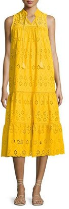 Kate Spade New York Sleeveless Cotton Eyelet Midi Dress, Yellow $478 thestylecure.com