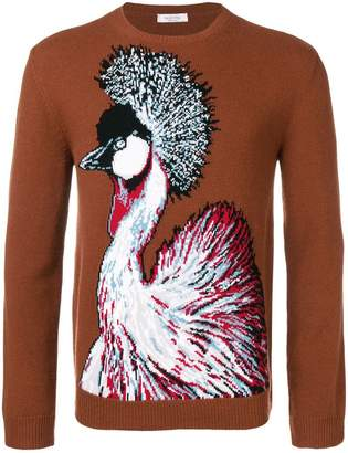 Valentino bird intarsia knit sweater