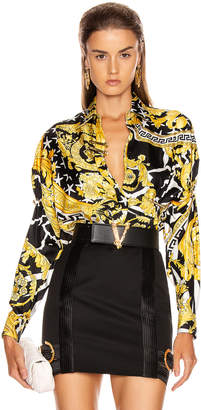 Versace Long Sleeve Print Blouse in Black & Yellow | FWRD