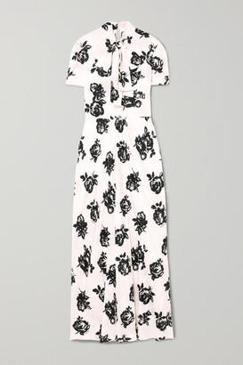 Miu Miu Floral-print Silk-jacquard Maxi Dress
