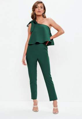 Missguided Green One Shoulder Bow Romper