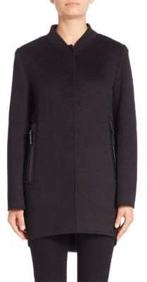 Derek Lam 10 Crosby Leather-Trimmed Button-Down Coat