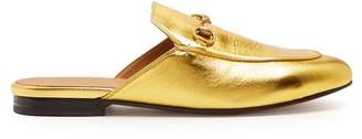 Gucci Princetown Leather Backless Loafers - Womens - Gold