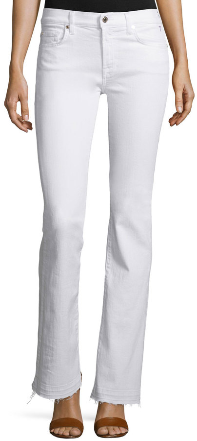 7 For All Mankind 7 For All Mankind Tailorless Boot-Cut Jeans W/Released Hem (Shorter Inseam), White