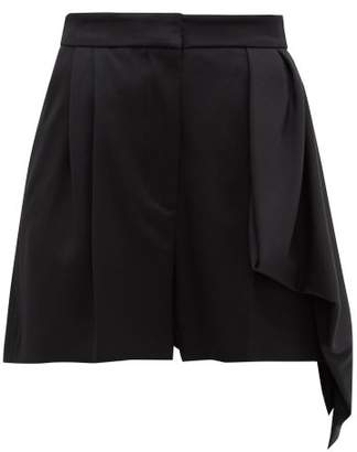 Alexander McQueen Draped Panel High Rise Wool Shorts - Womens - Black