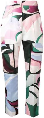 Emilio Pucci abstract high-waisted trousers