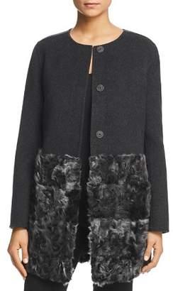 Max Mara Leva Virgin Wool & Lamb Shearling Doppio Coat