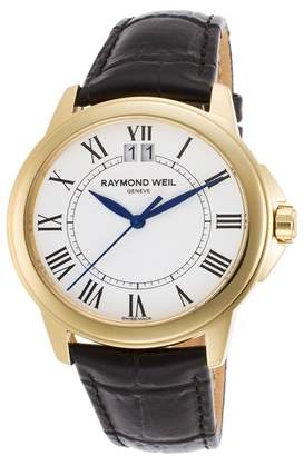 Raymond Weil Men's Tradition Embossed Leather Strap Watch, 40mm