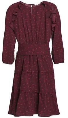BA&SH Ruffle-Trimmed Printed Jacquard Mini Dress