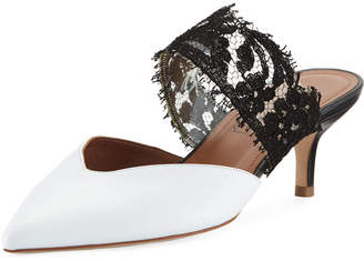 Malone Souliers Maisie Leather & Lace Mule Pump