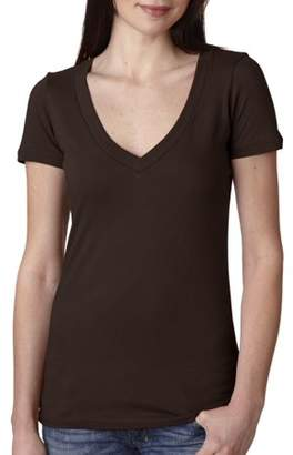 Next Level The Deep V Simple T Shirt Ladies' Junior Fit 3540