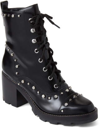 Marc Fisher Black Westly Studded Lace-Up Boots