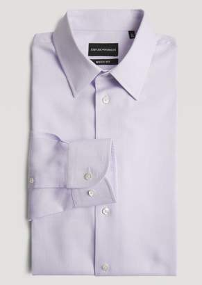 Emporio Armani Modern Fit Shirt In Striped Fancy Cotton