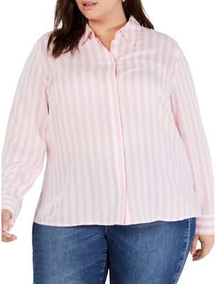 INC International Concepts Plus Striped Button-Down Shirt
