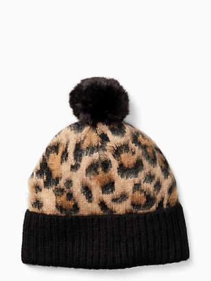 Kate Spade Leopard pom hat