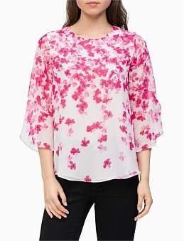 Calvin Klein Print Ruffle Sleeve Blouse
