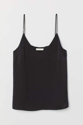 H&M V-neck Satin Top - Black